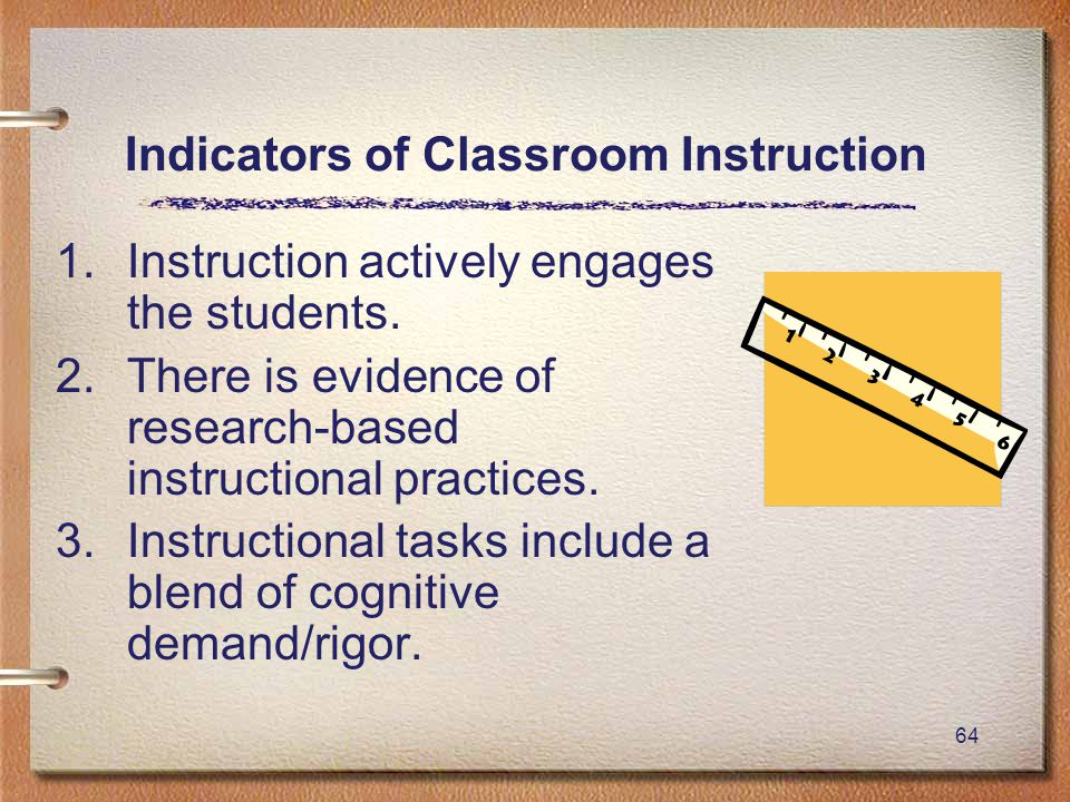 64 Indicators of Classroom Instruction 1.Instruction actively engages the students.