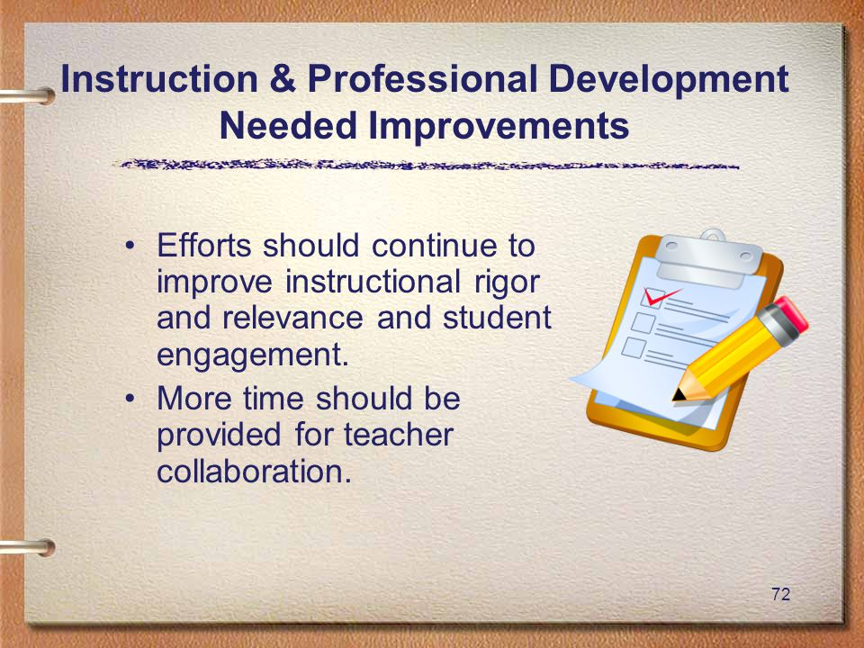 72 Instruction & Professional Development Needed Improvements Efforts should continue to improve instructional rigor and relevance and student engagement.
