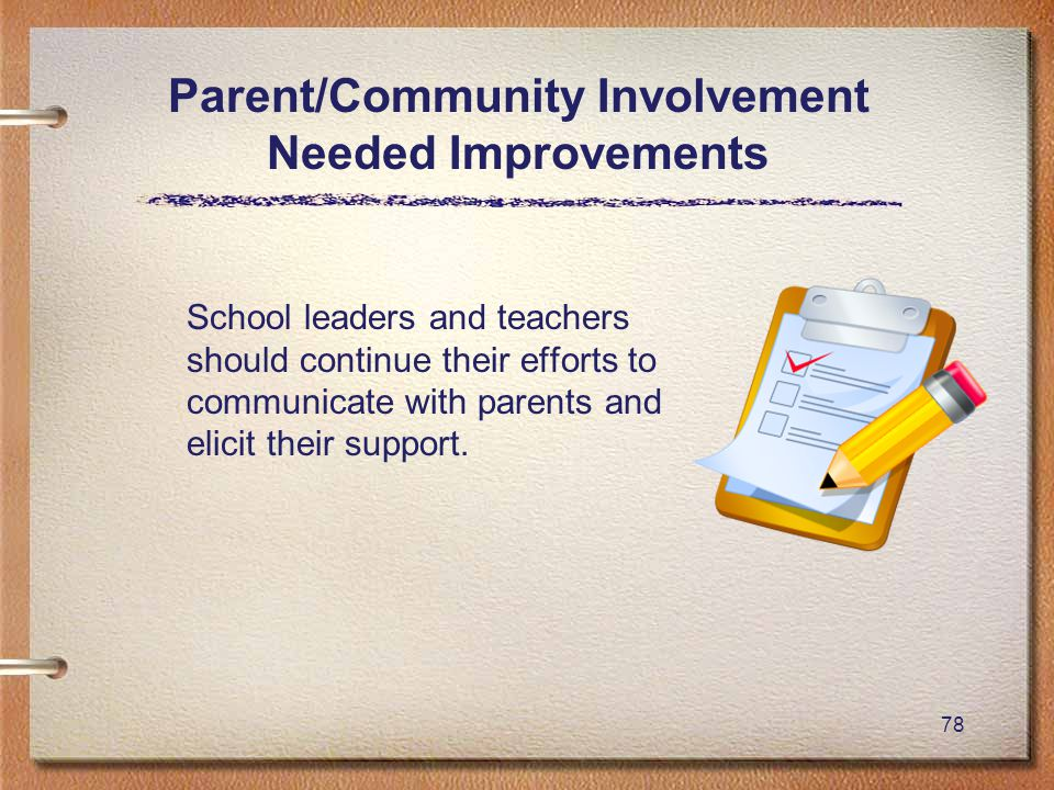78 Parent/Community Involvement Needed Improvements School leaders and teachers should continue their efforts to communicate with parents and elicit their support.