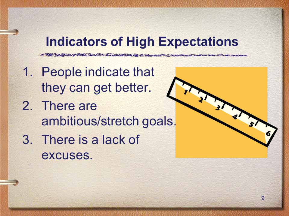 9 Indicators of High Expectations 1.People indicate that they can get better.