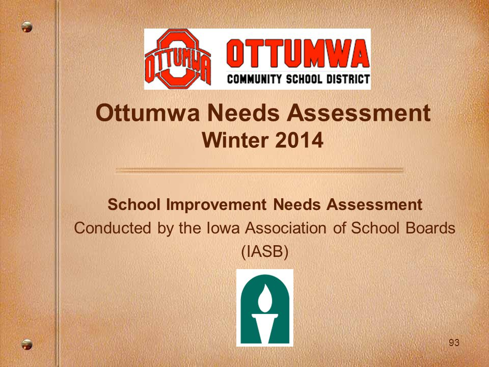 93 Ottumwa Needs Assessment Winter 2014 School Improvement Needs Assessment Conducted by the Iowa Association of School Boards (IASB)