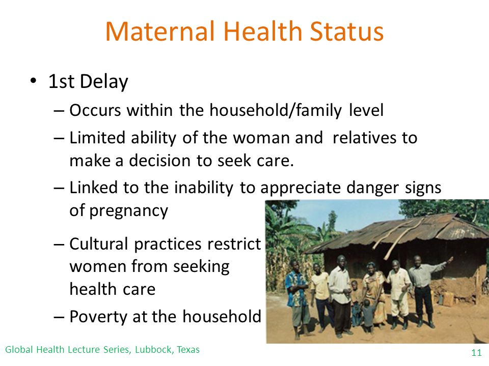 Maternal Health Status 1st Delay – Occurs within the household/family level – Limited ability of the woman and relatives to make a decision to seek care.