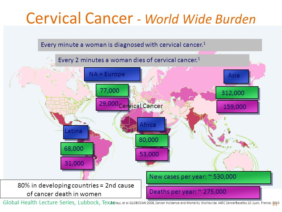 Cervical Cancer - World Wide Burden 21 FerlayJ, et al.GLOBOCAN 2008, Cancer Incidence and Mortality Worldwide.