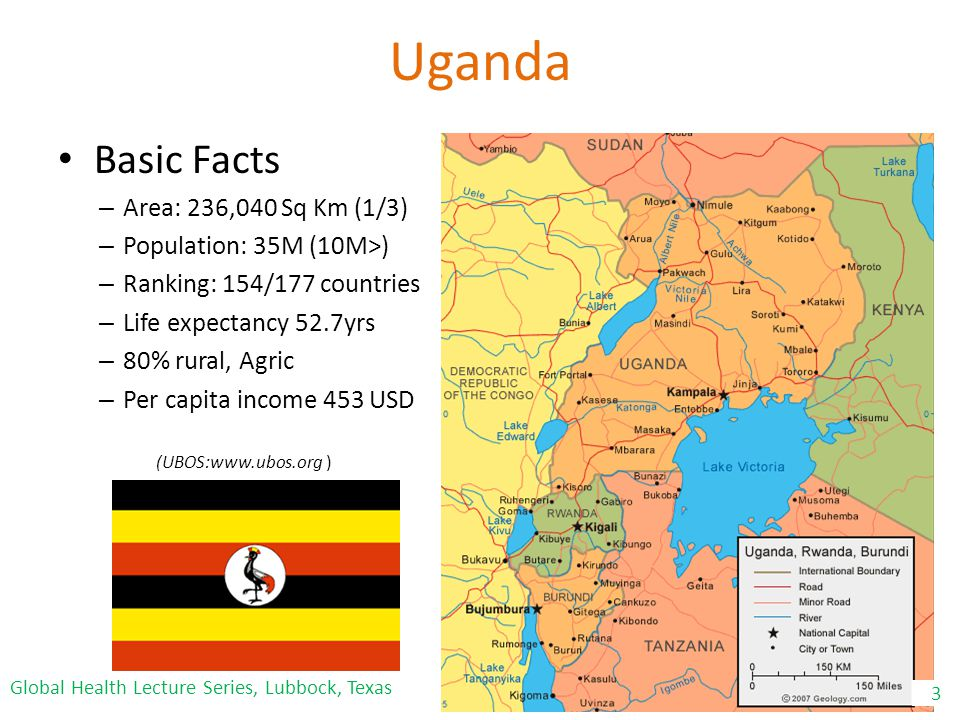 Uganda Basic Facts – Area: 236,040 Sq Km (1/3) – Population: 35M (10M>) – Ranking: 154/177 countries – Life expectancy 52.7yrs – 80% rural, Agric – Per capita income 453 USD 3 (UBOS:www.ubos.org ) Global Health Lecture Series, Lubbock, Texas