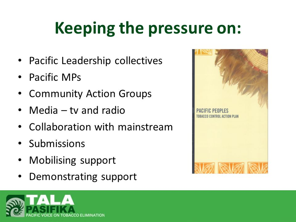 Pacific Leadership collectives Pacific MPs Community Action Groups Media – tv and radio Collaboration with mainstream Submissions Mobilising support D