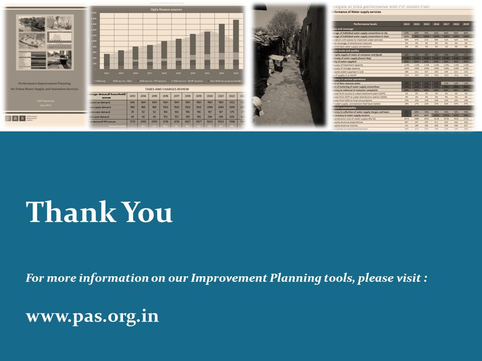 Thank You For more information on our Improvement Planning tools, please visit : www.pas.org.in