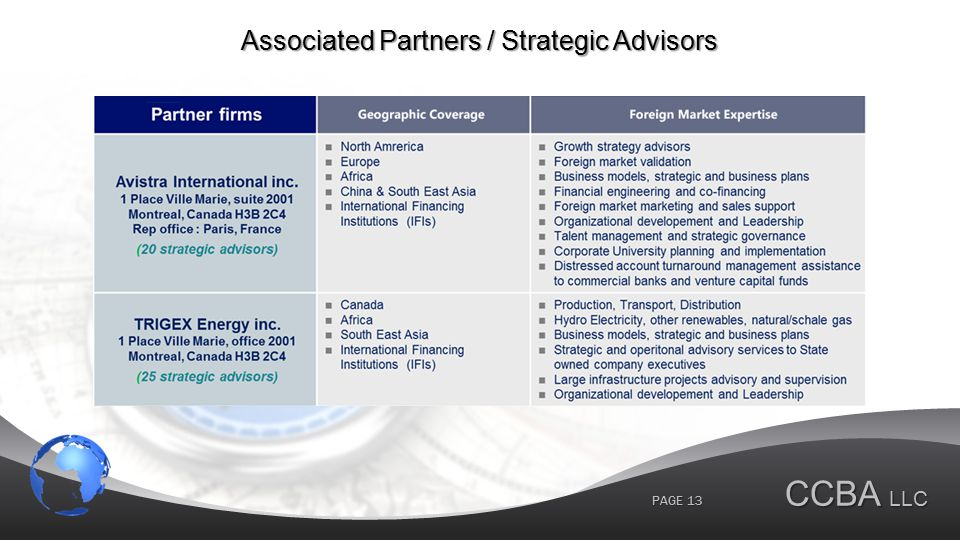 CCBA LLC PAGE 13 Associated Partners / Strategic Advisors