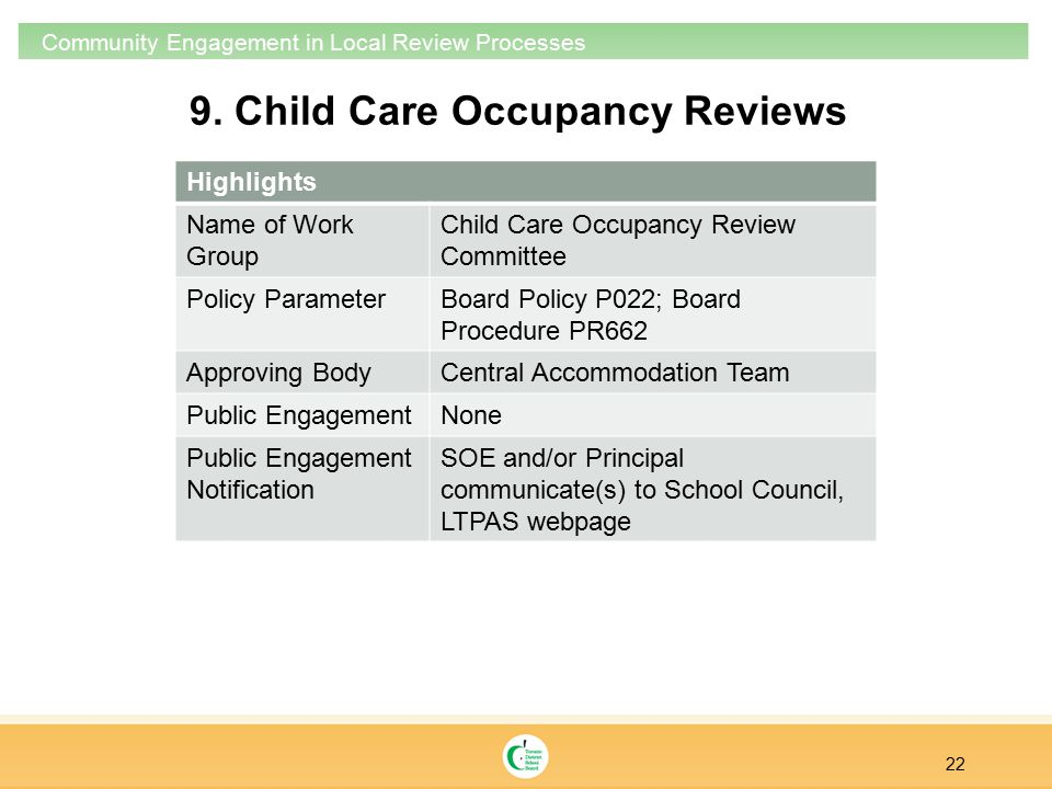 9. Child Care Occupancy Reviews 22 Community Engagement in Local Review Processes Highlights Name of Work Group Child Care Occupancy Review Committee