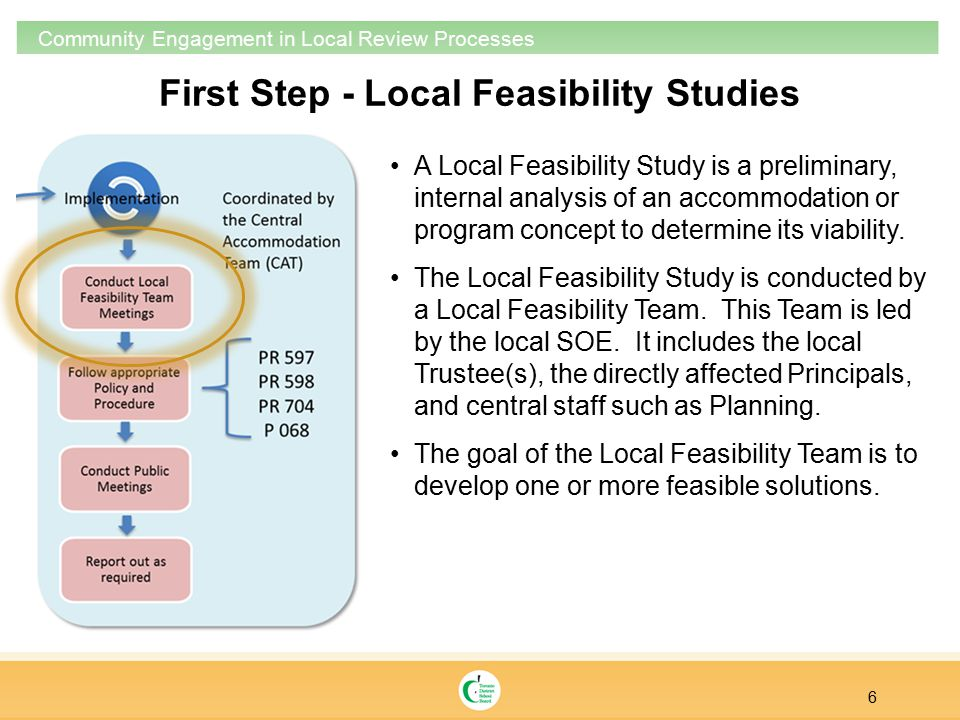 6 Community Engagement in Local Review Processes A Local Feasibility Study is a preliminary, internal analysis of an accommodation or program concept to determine its viability.