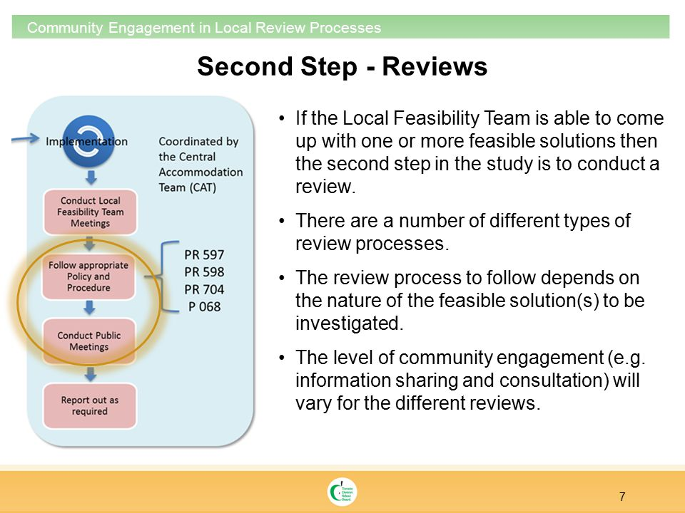 7 Community Engagement in Local Review Processes If the Local Feasibility Team is able to come up with one or more feasible solutions then the second step in the study is to conduct a review.