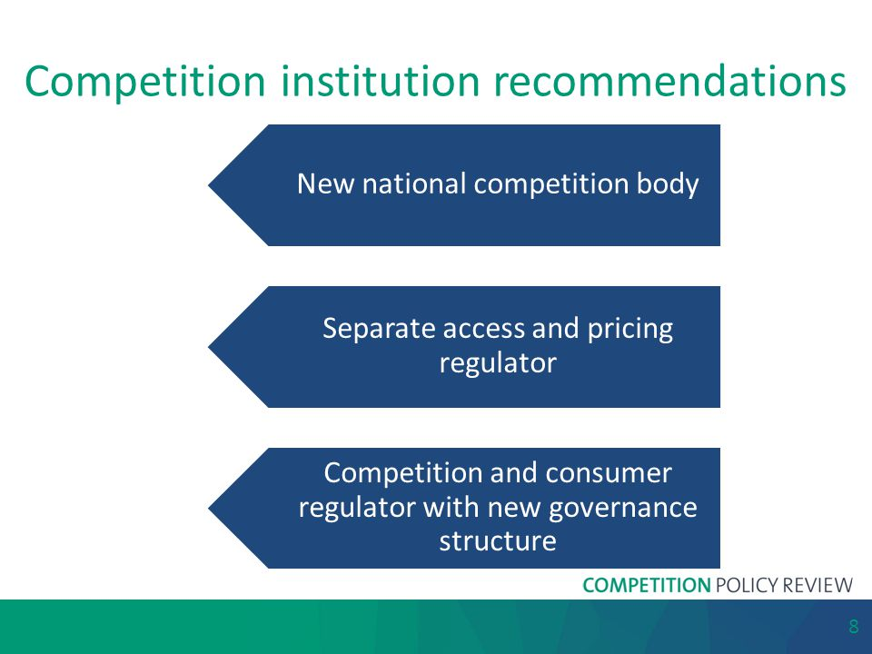 Competition institution recommendations New national competition body Separate access and pricing regulator Competition and consumer regulator with ne