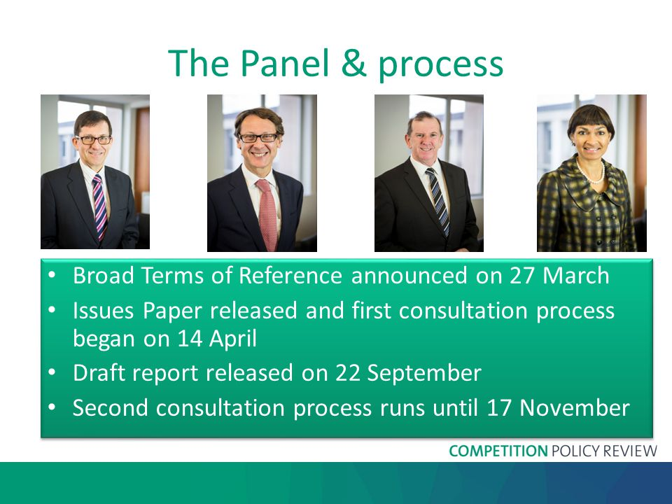 The Panel & process Broad Terms of Reference announced on 27 March Issues Paper released and first consultation process began on 14 April Draft report released on 22 September Second consultation process runs until 17 November Broad Terms of Reference announced on 27 March Issues Paper released and first consultation process began on 14 April Draft report released on 22 September Second consultation process runs until 17 November