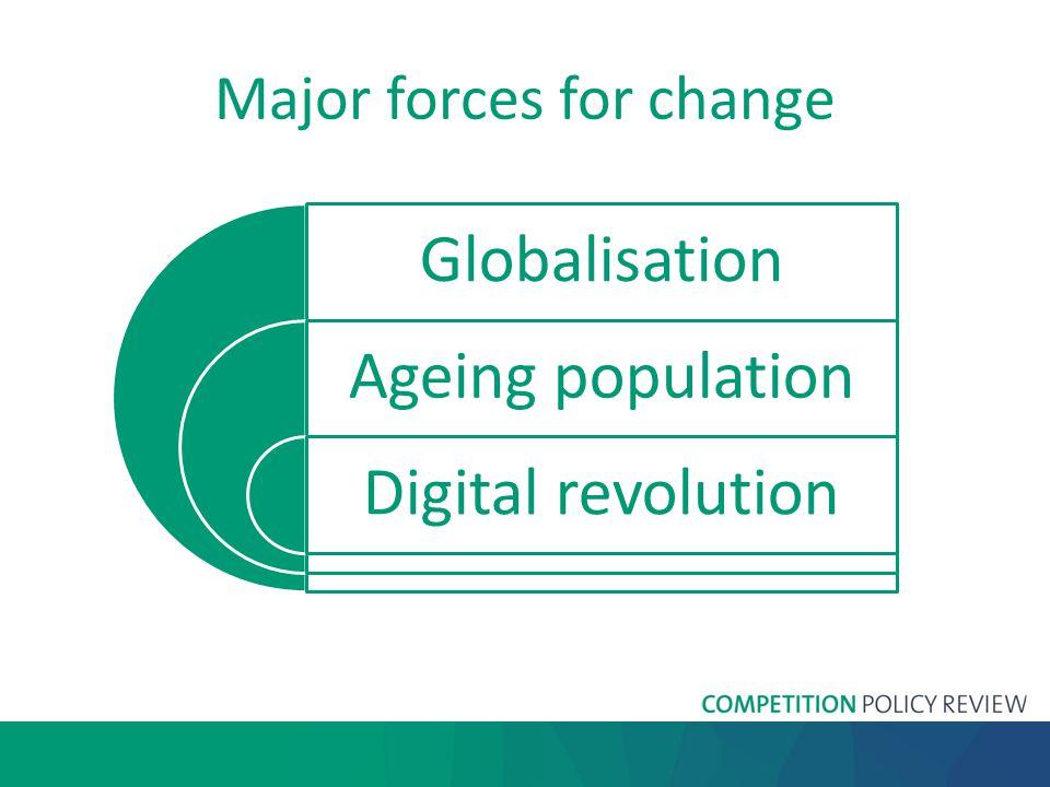 Major forces for change Globalisation Ageing population Digital revolution