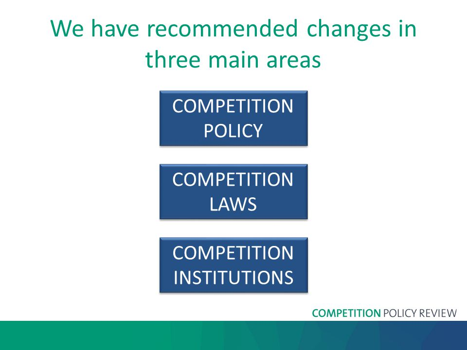 We have recommended changes in three main areas COMPETITION POLICY COMPETITION POLICY COMPETITION LAWS COMPETITION LAWS COMPETITION INSTITUTIONS COMPETITION INSTITUTIONS