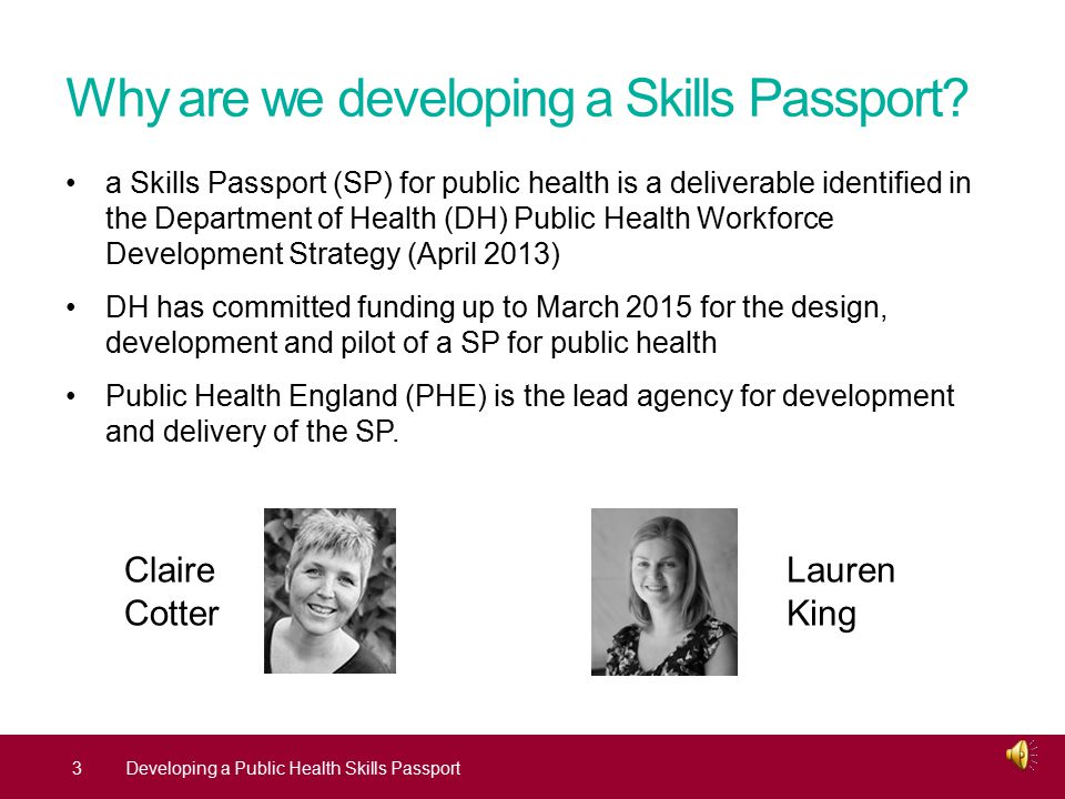 Outline why are we developing a Public Health Skills Passport.