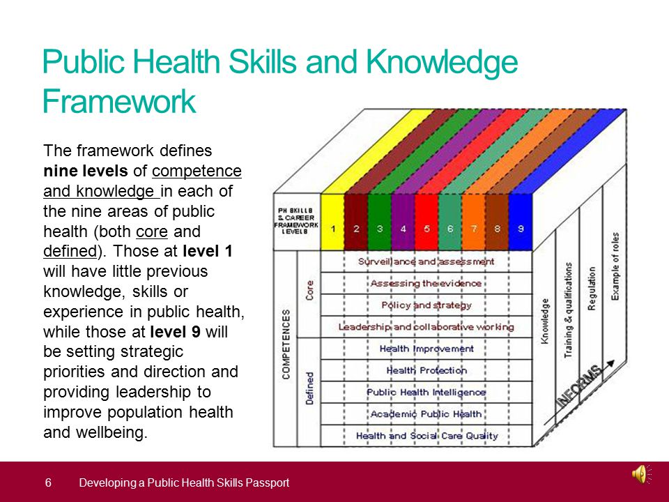 Public Health Skills and Knowledge Framework 6Developing a Public Health Skills Passport The framework defines nine levels of competence and knowledge in each of the nine areas of public health (both core and defined).