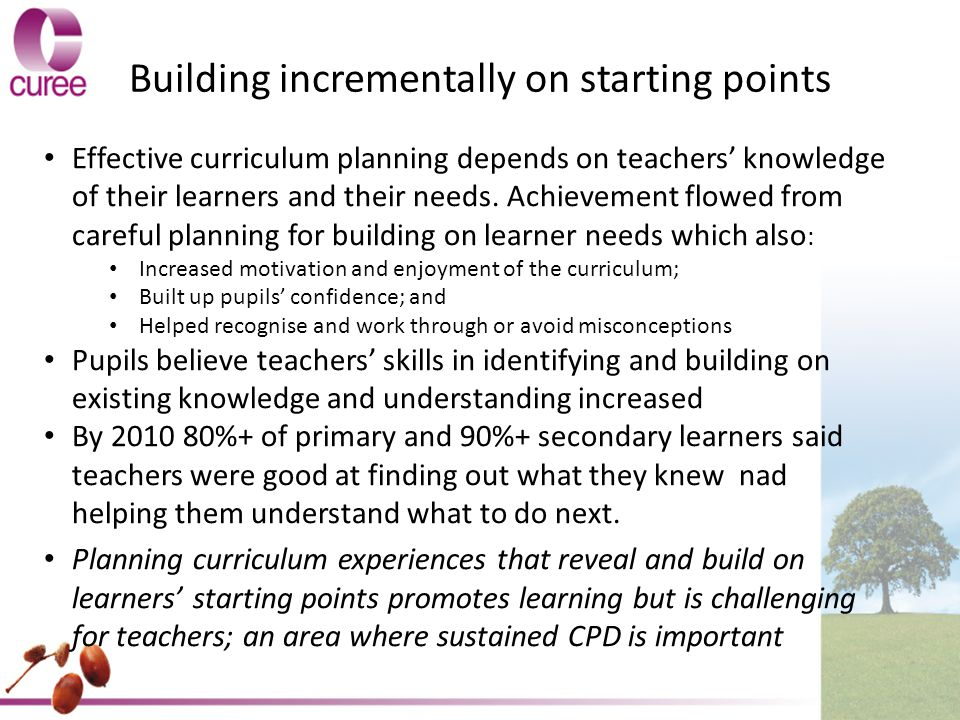 Building incrementally on starting points Effective curriculum planning depends on teachers' knowledge of their learners and their needs.