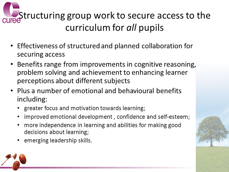 Structuring group work to secure access to the curriculum for all pupils Effectiveness of structured and planned collaboration for securing access Benefits range from improvements in cognitive reasoning, problem solving and achievement to enhancing learner perceptions about different subjects Plus a number of emotional and behavioural benefits including: greater focus and motivation towards learning; improved emotional development, confidence and self-esteem; more independence in learning and abilities for making good decisions about learning; emerging leadership skills.