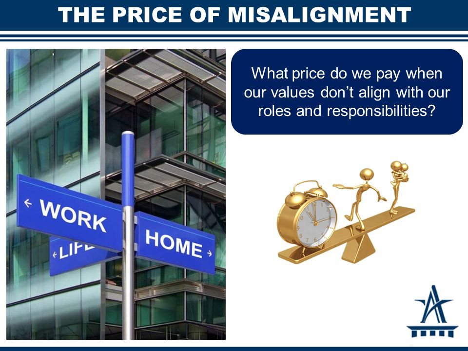 THE PRICE OF MISALIGNMENT What price do we pay when our values don't align with our roles and responsibilities?