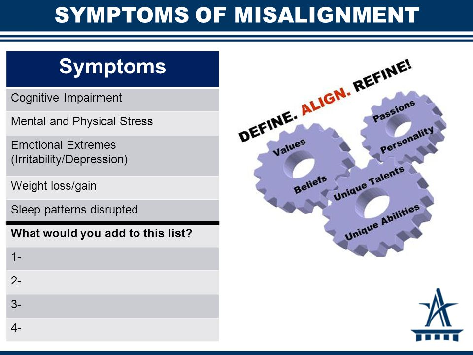 SYMPTOMS OF MISALIGNMENT Symptoms Cognitive Impairment Mental and Physical Stress Emotional Extremes (Irritability/Depression) Weight loss/gain Sleep patterns disrupted What would you add to this list.