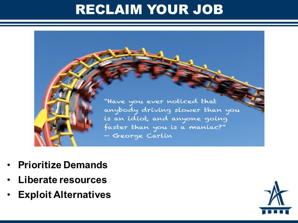 RECLAIM YOUR JOB Prioritize Demands Liberate resources Exploit Alternatives