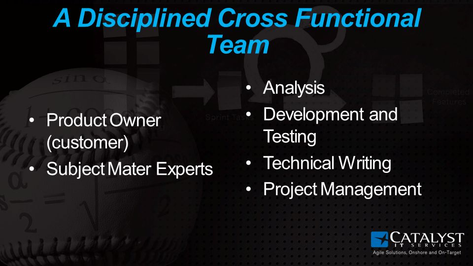 A Disciplined Cross Functional Team Product Owner (customer) Subject Mater Experts Analysis Development and Testing Technical Writing Project Management
