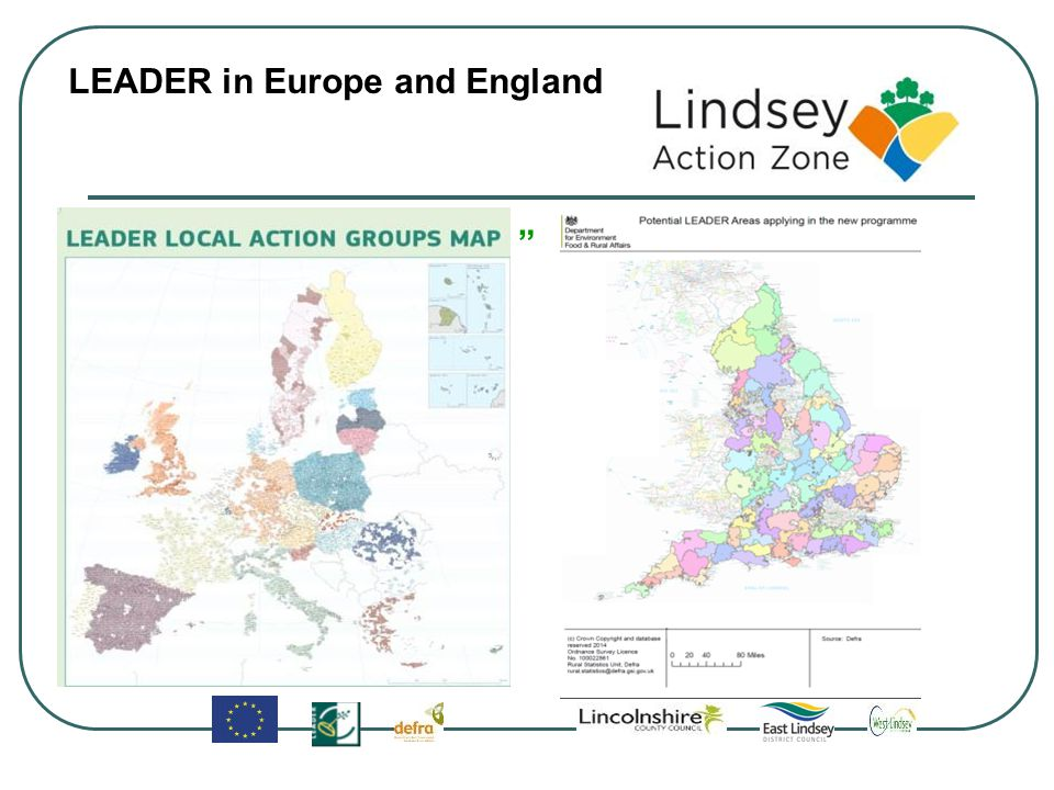 Proposed LEADER areas in Greater Lincolnshire Urban areas out of scope 1 Northern Lincolnshire 2 Lindsey Action Zone 3 Coastal Action Zone 4 Kestevens 5 Wash Fens Partnership 1 2 3 4 5