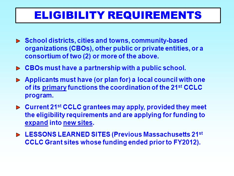 School districts, cities and towns, community-based organizations (CBOs), other public or private entities, or a consortium of two (2) or more of the