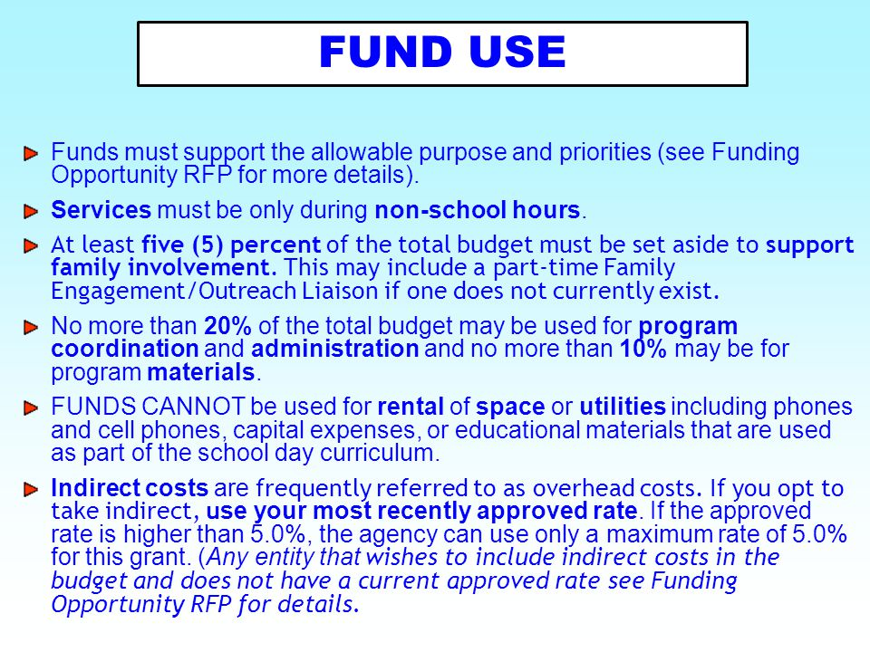 Funds must support the allowable purpose and priorities (see Funding Opportunity RFP for more details). Services must be only during non-school hours.