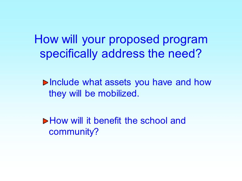 How will your proposed program specifically address the need? Include what assets you have and how they will be mobilized. How will it benefit the sch