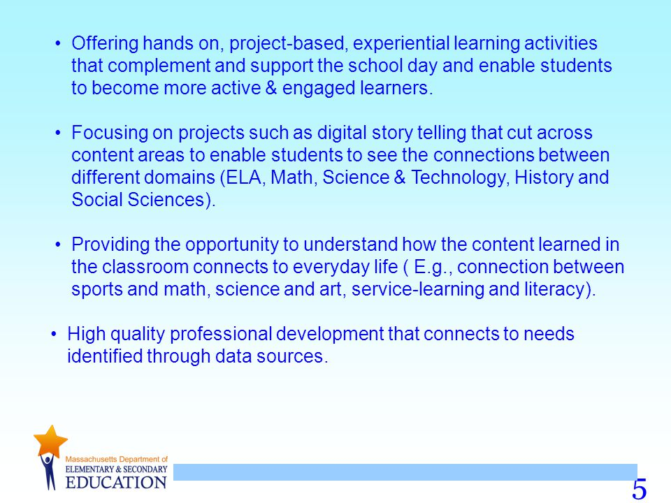Project-Based Learning involves: Service- Learning involves: Contextual Learning involves: Contextual learning projects engage students in academic work applied to a context related to their lives, communities, workplaces or the wider world.