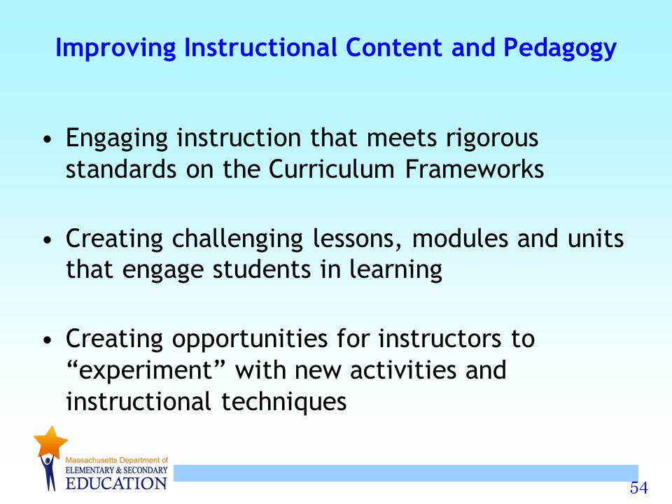 54 Improving Instructional Content and Pedagogy Engaging instruction that meets rigorous standards on the Curriculum Frameworks Creating challenging l