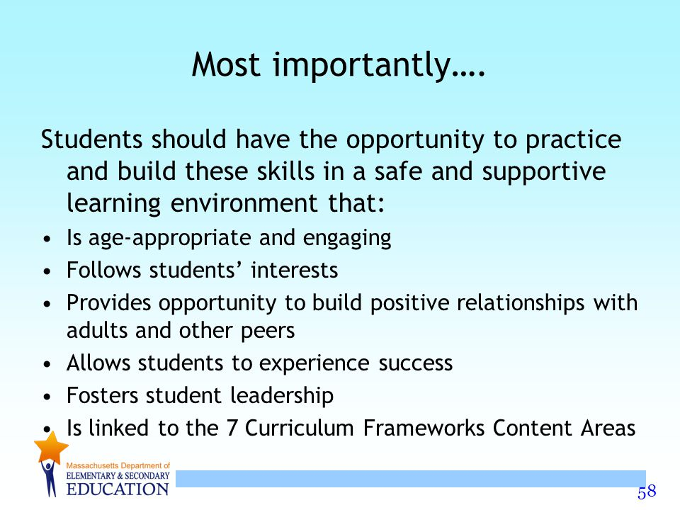 58 Most importantly…. Students should have the opportunity to practice and build these skills in a safe and supportive learning environment that: Is a