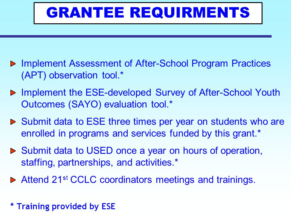 10 Results Oriented Approach The MA 21 st CCLC Program worked with the National Institute on Out-of-School Time (NIOST) over a three-year period to create the Survey of After-School Youth Outcomes (SAYO), an evaluation tool for use by Massachusetts' 21st CCLC grantees.
