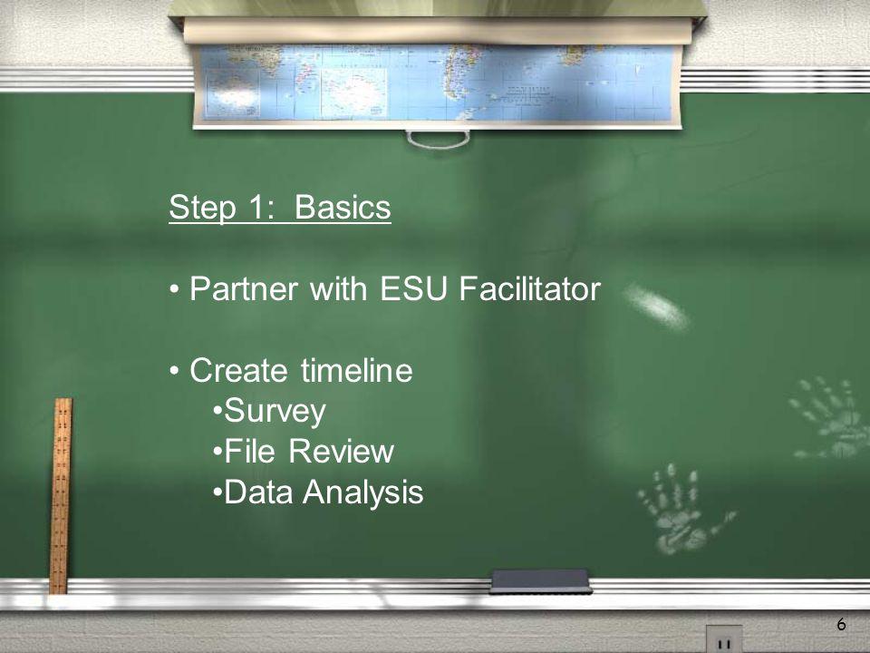 6 Step 1: Basics Partner with ESU Facilitator Create timeline Survey File Review Data Analysis