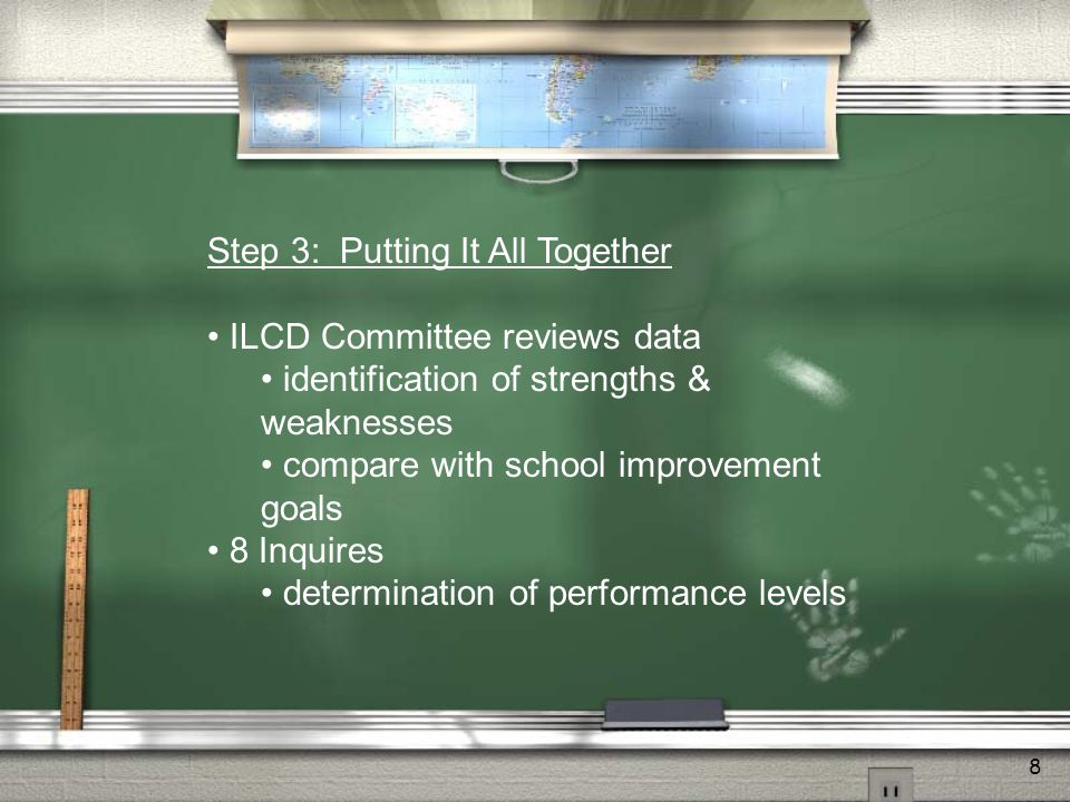 8 Step 3: Putting It All Together ILCD Committee reviews data identification of strengths & weaknesses compare with school improvement goals 8 Inquires determination of performance levels
