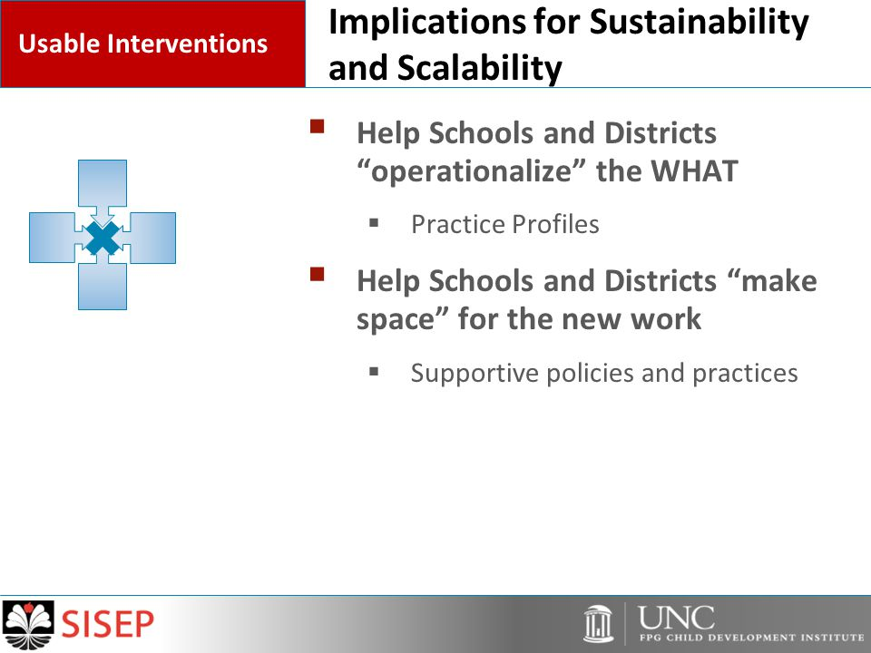 Implications for Sustainability and Scalability  Help Schools and Districts operationalize the WHAT  Practice Profiles  Help Schools and Districts make space for the new work  Supportive policies and practices Usable Interventions