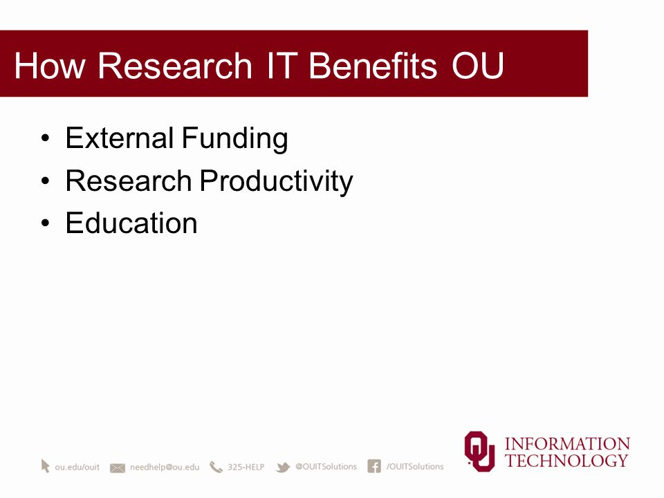 How Research IT Benefits OU External Funding Research Productivity Education