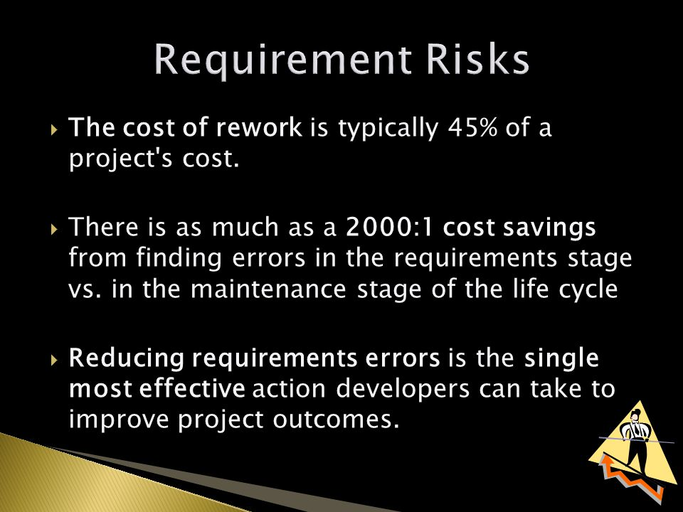  The cost of rework is typically 45% of a project s cost.