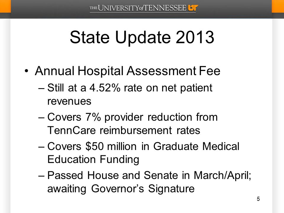 State Update 2013 Annual Hospital Assessment Fee –Still at a 4.52% rate on net patient revenues –Covers 7% provider reduction from TennCare reimbursement rates –Covers $50 million in Graduate Medical Education Funding –Passed House and Senate in March/April; awaiting Governor's Signature 5