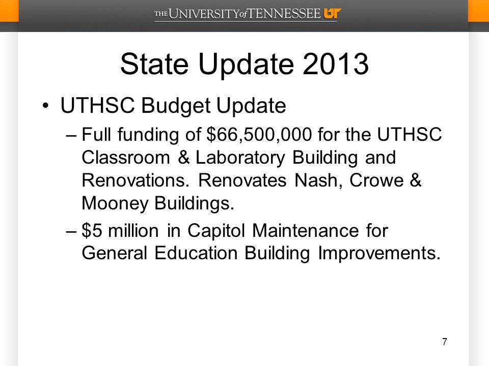 State Update 2013 UTHSC Budget Update –Full funding of $66,500,000 for the UTHSC Classroom & Laboratory Building and Renovations.