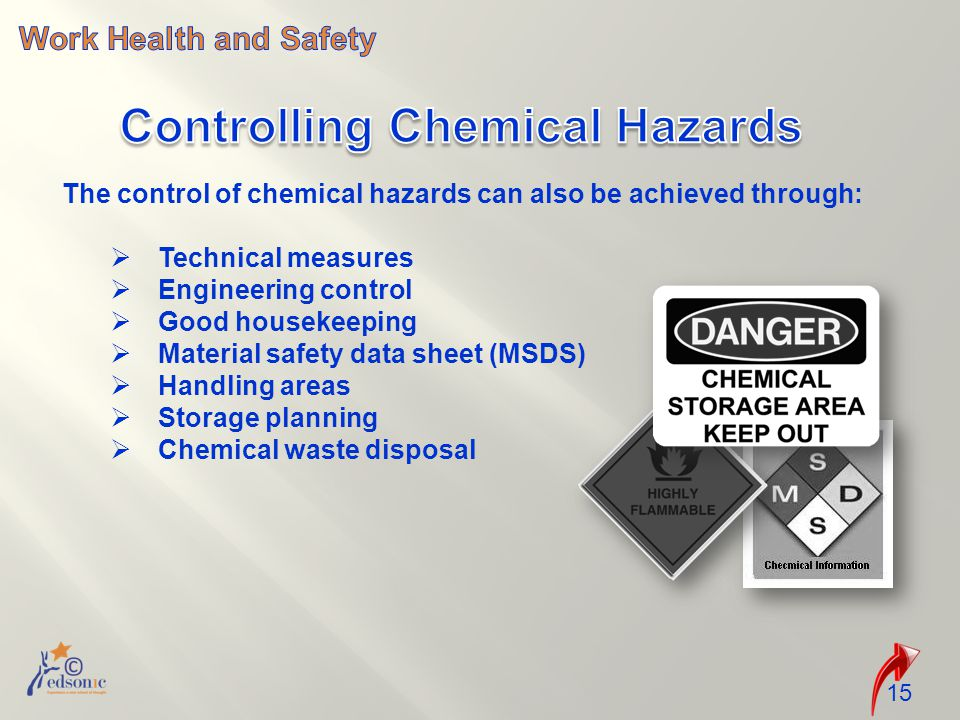 The control of chemical hazards can also be achieved through:  Technical measures  Engineering control  Good housekeeping  Material safety data sh