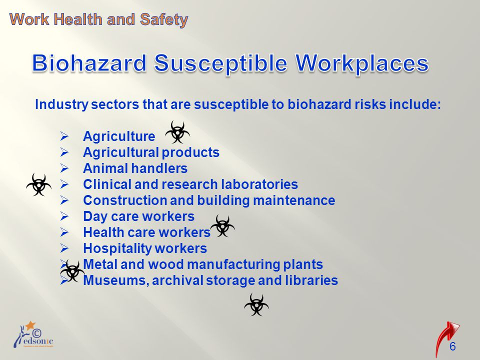 Industry sectors that are susceptible to biohazard risks include:  Agriculture  Agricultural products  Animal handlers  Clinical and research laboratories  Construction and building maintenance  Day care workers  Health care workers  Hospitality workers  Metal and wood manufacturing plants  Museums, archival storage and libraries 6