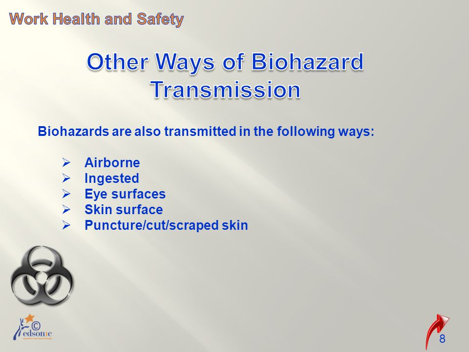 Biohazards are also transmitted in the following ways:  Airborne  Ingested  Eye surfaces  Skin surface  Puncture/cut/scraped skin 8