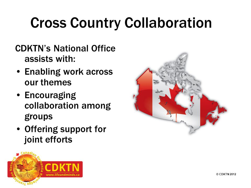 © CDKTN 2012 Cross Country Collaboration CDKTN's National Office assists with: Enabling work across our themes Encouraging collaboration among groups Offering support for joint efforts