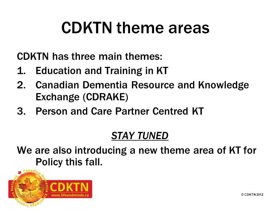 © CDKTN 2012 Think Tanks and Workshops - around the priorities and needs of people in dementia care