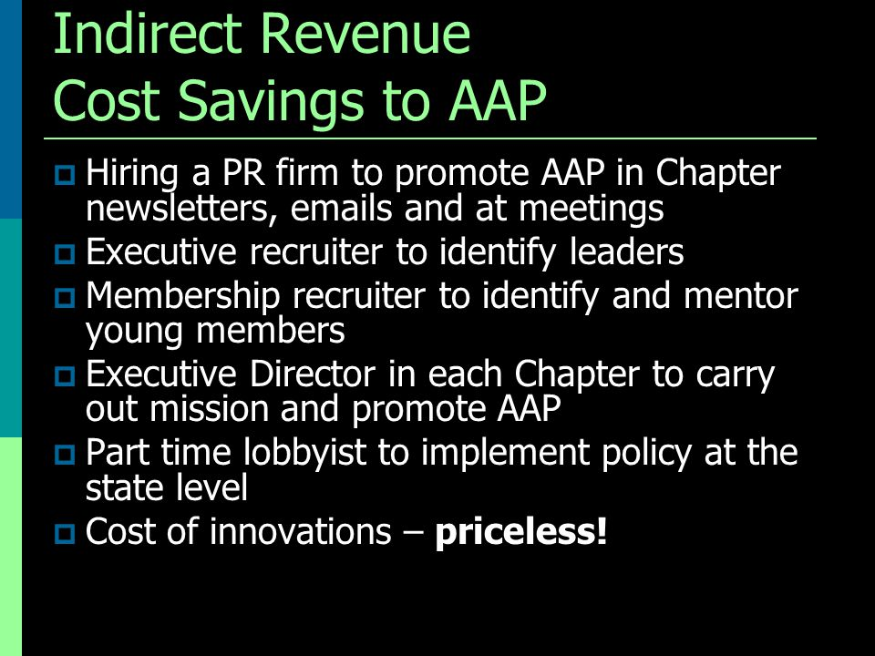 Indirect Revenue Cost Savings to AAP  Hiring a PR firm to promote AAP in Chapter newsletters, emails and at meetings  Executive recruiter to identif