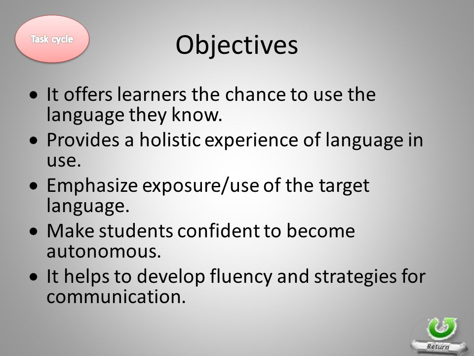 Objectives  It offers learners the chance to use the language they know.  Provides a holistic experience of language in use.  Emphasize exposure/us
