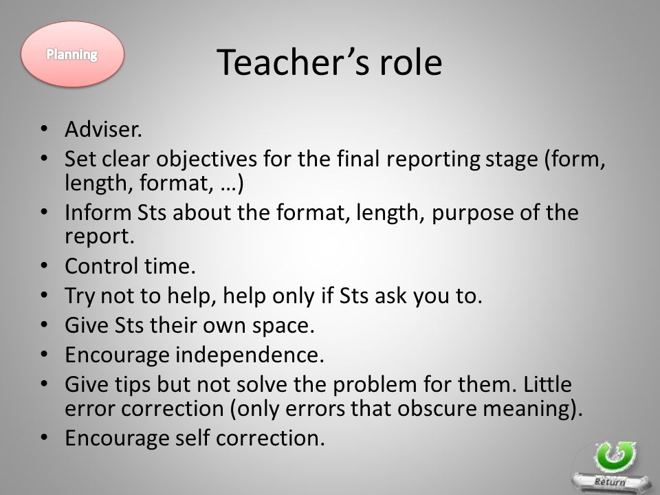 Teacher's role Adviser. Set clear objectives for the final reporting stage (form, length, format, …) Inform Sts about the format, length, purpose of t