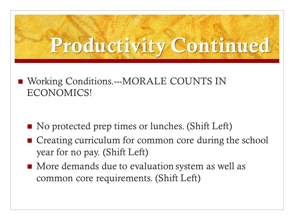 Productivity Continued Working Conditions.---MORALE COUNTS IN ECONOMICS.